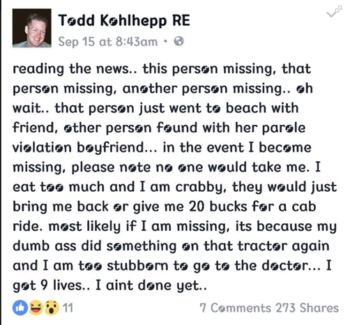 Post made 2 weeks after couple went missing