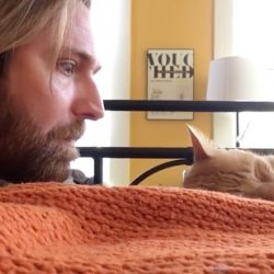 Mean man scares his own cat