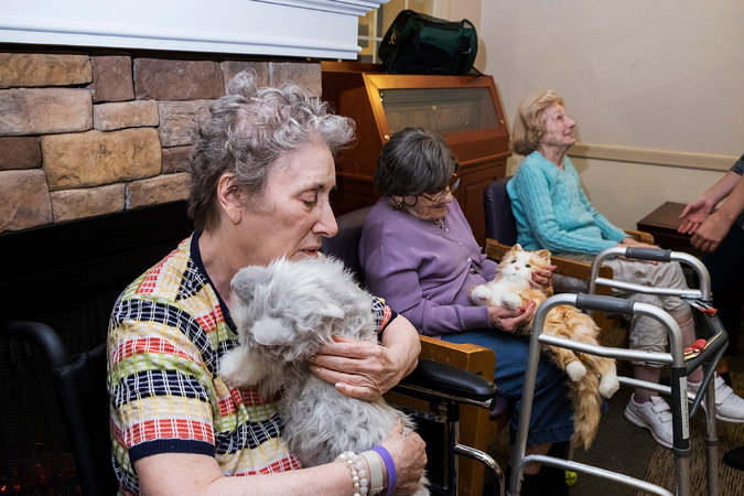 Robotic cat calms lady with dementia -- Photo by Christian Hansen for The New York Times