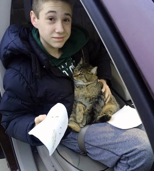 14 Year Old Risked His Life To Save Cat Thrown From A Van