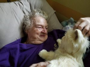 Eighty-one-year-old woman with mild dementia loves her robot cat