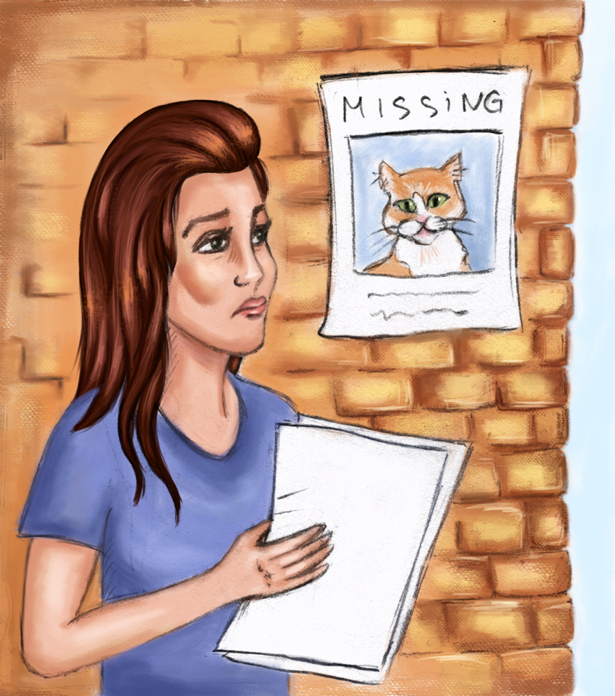 Pet psychic finds the lady's cat -- Illustration by Dina Arakcheyeva:The Pioneer
