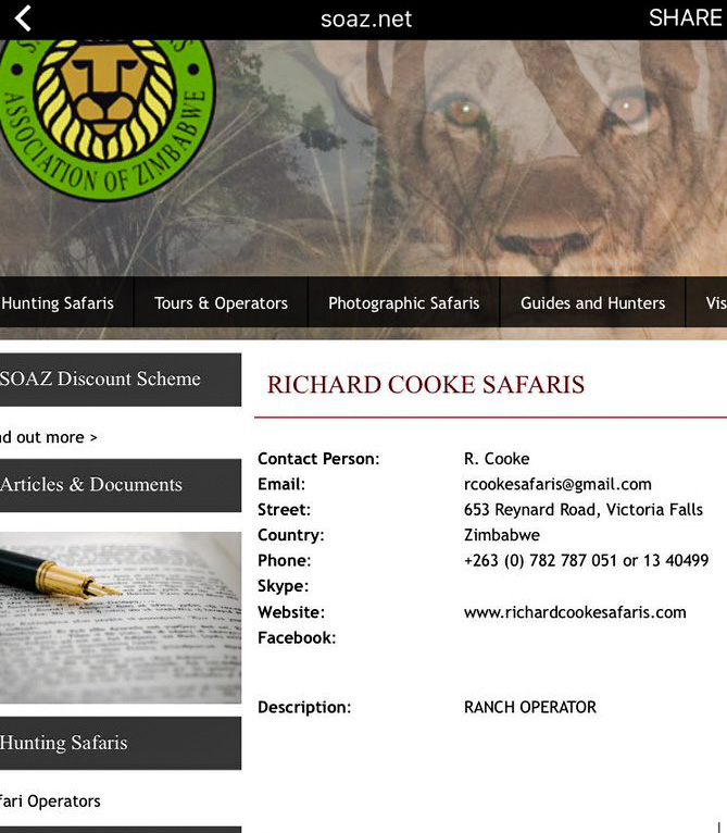 Richard Cooke Safaris listing