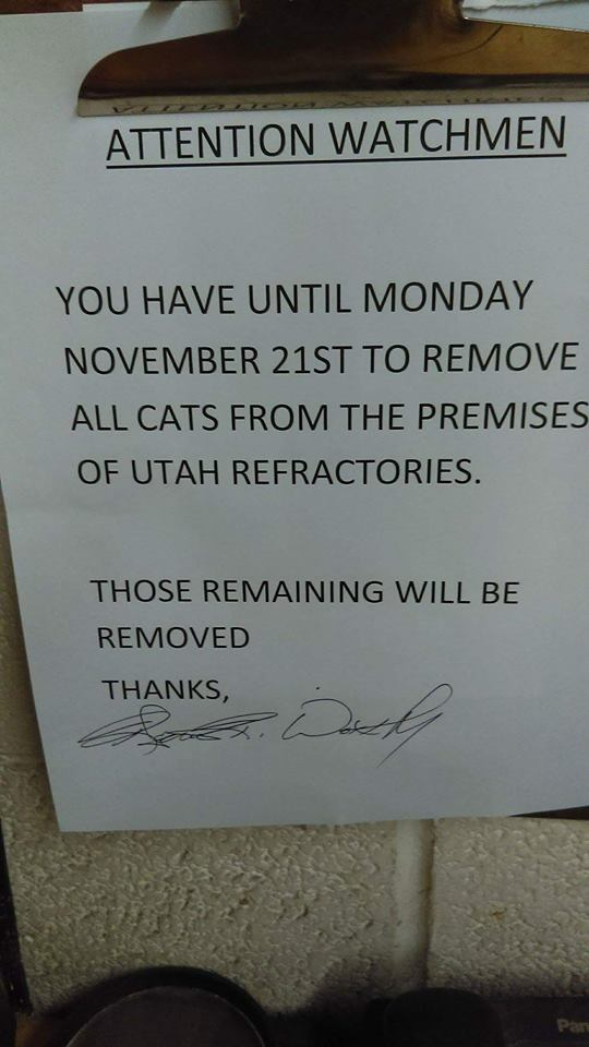 Factory notice ordering the removal of feral cats