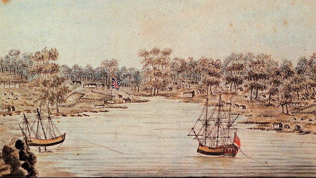Captain Arthur Phillip and the First Fleet arriving in Sydney Cove 1788