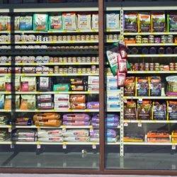 Petsmart store cat food behind large windows in direct sunlight
