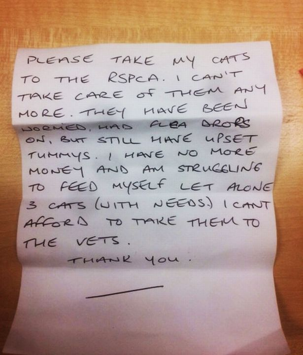 Heart rending note left by cat carer