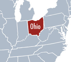 Showing Ohio on US map