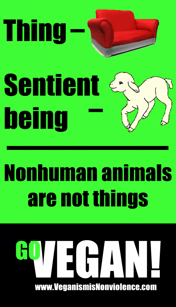 I have used a vegan graphic to illustrate this page. You don't have to be vegan to understand that animals are sentient beings but it helps.