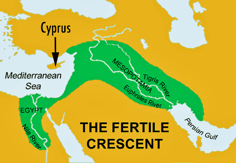 Fertile Crescent showing Cyprus