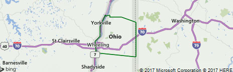 Ohio county west Virginia map