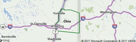 Ohio county west Virginia map