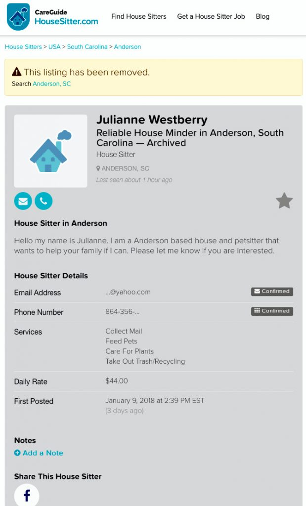 Julianne Westberry advertising her services as a pet sitter