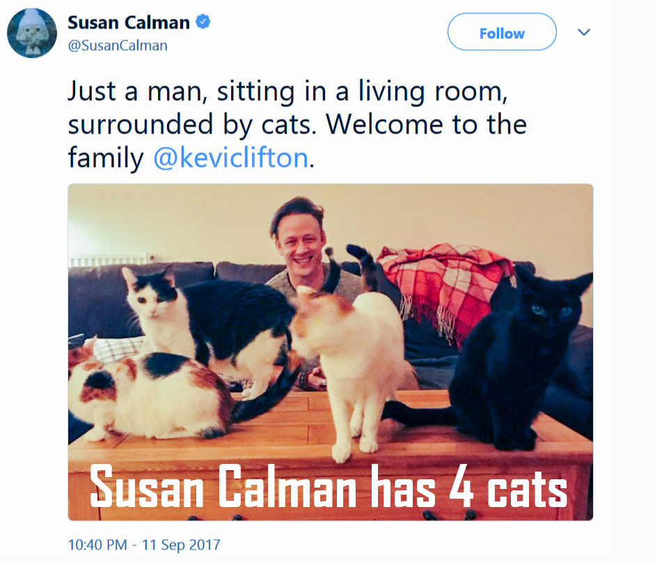 Susan Calman has four cats