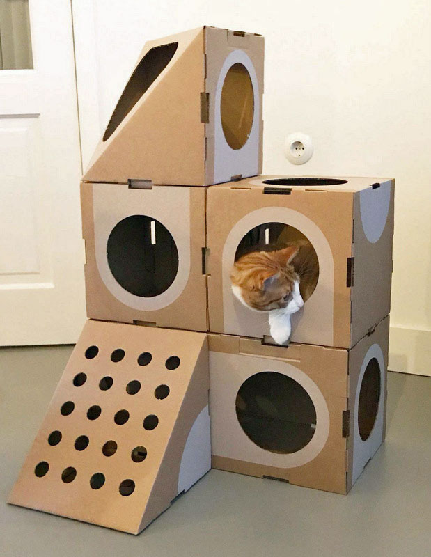 Stylish Origami Inspired Cat Play House Boxes
