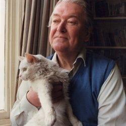 Kingsley Amis and white Turkish Angora type cat