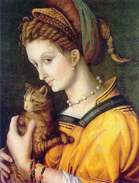 Medieval painting showing cat and owner