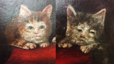 Mediaeval cat paintings: ugly anthropomorphized depictions