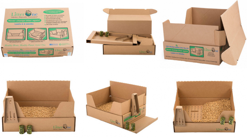 Cardboard litter tray and wood litter
