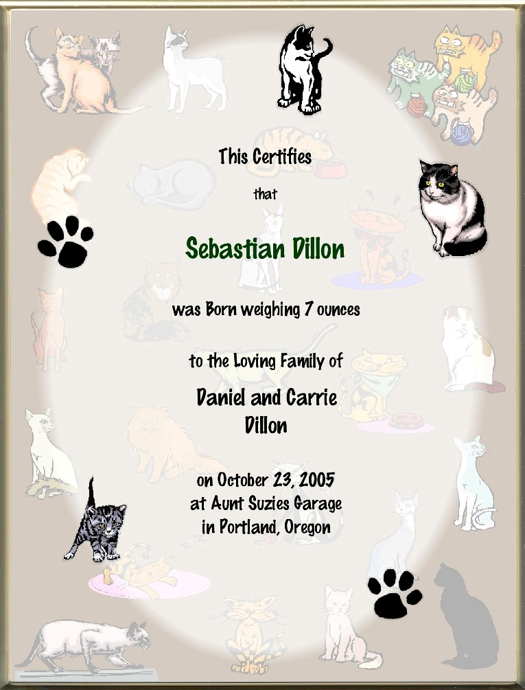 It's just a picture of Smart Cat Birth Certificate