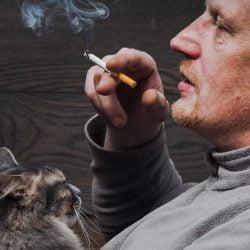 Man smoking with cat on lap