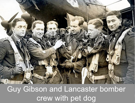 Guy Gibson VC and crew with pet dog