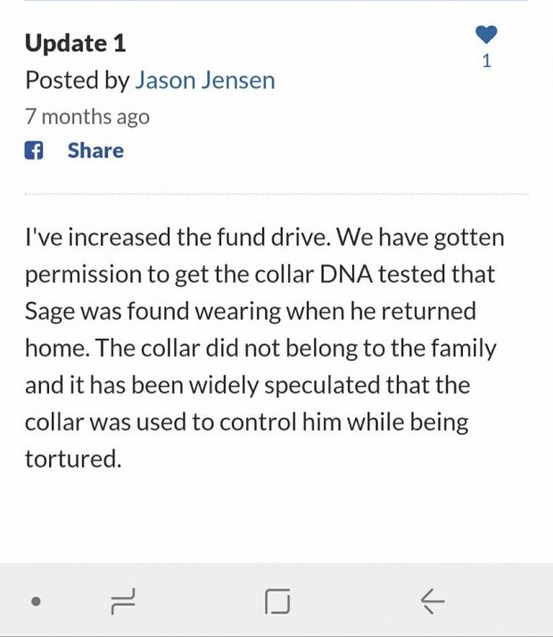 Announcement by Jensen of DNA testing of collar worn by Sage.