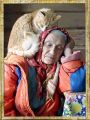 Old lady and loving cat
