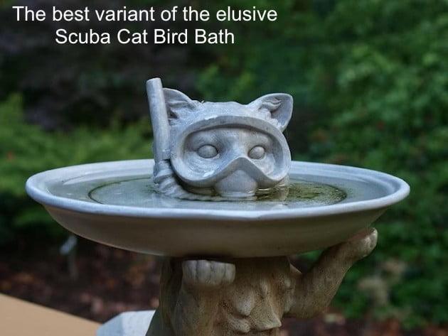 Scuba Cat Bird Bath