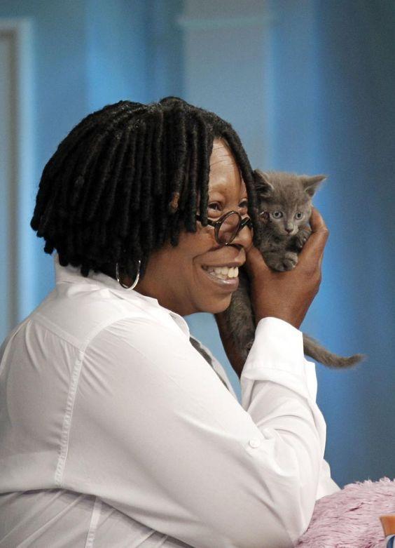 Whoopi Goldberg and cat