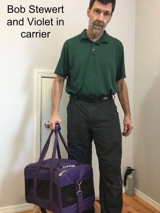 Bob Stewert with Violet in carrier