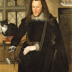 Third Earl of Southampton and his cat Trixie at Tower of London