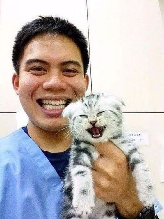 Happy vet and patient