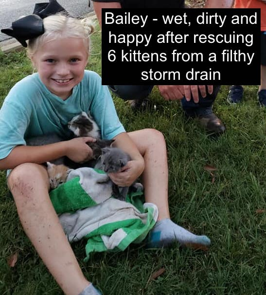 Picture of Bailey, a 9-year-old girl after rescuing 6 kittens from a storm drain