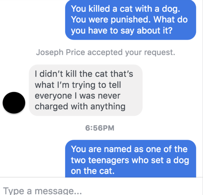 Communication with one of the teenagers who killed a cat