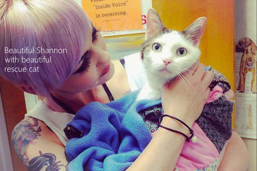 Shannon a shelter worker with rescue cat