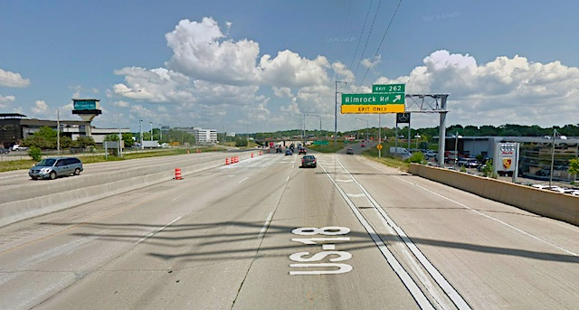 Eight lane Beltline where cat was hit by traffic