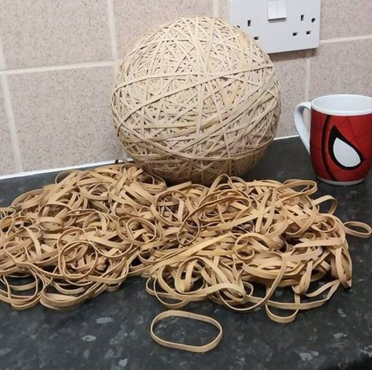 10,000 elastic bands gathered from the street left by posties