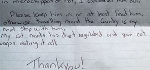 Note from woman threatening abduction of neighbour's wandering cat