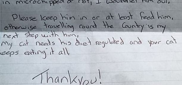 Cat Owner Writes Threatening Note To Neighbour About His