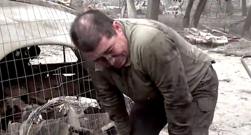 Shannon Jay temporarily breaks down in relief after successful cat rescue for war zone of Camp Fire