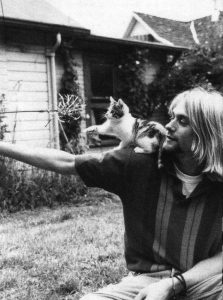 Kurt Corbain with cats. He loved animals