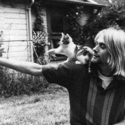 Kurt Corbain with cats. He loved animals