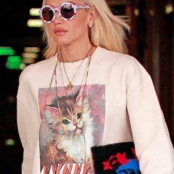 Gwen Stefani wears cat sweatshirt