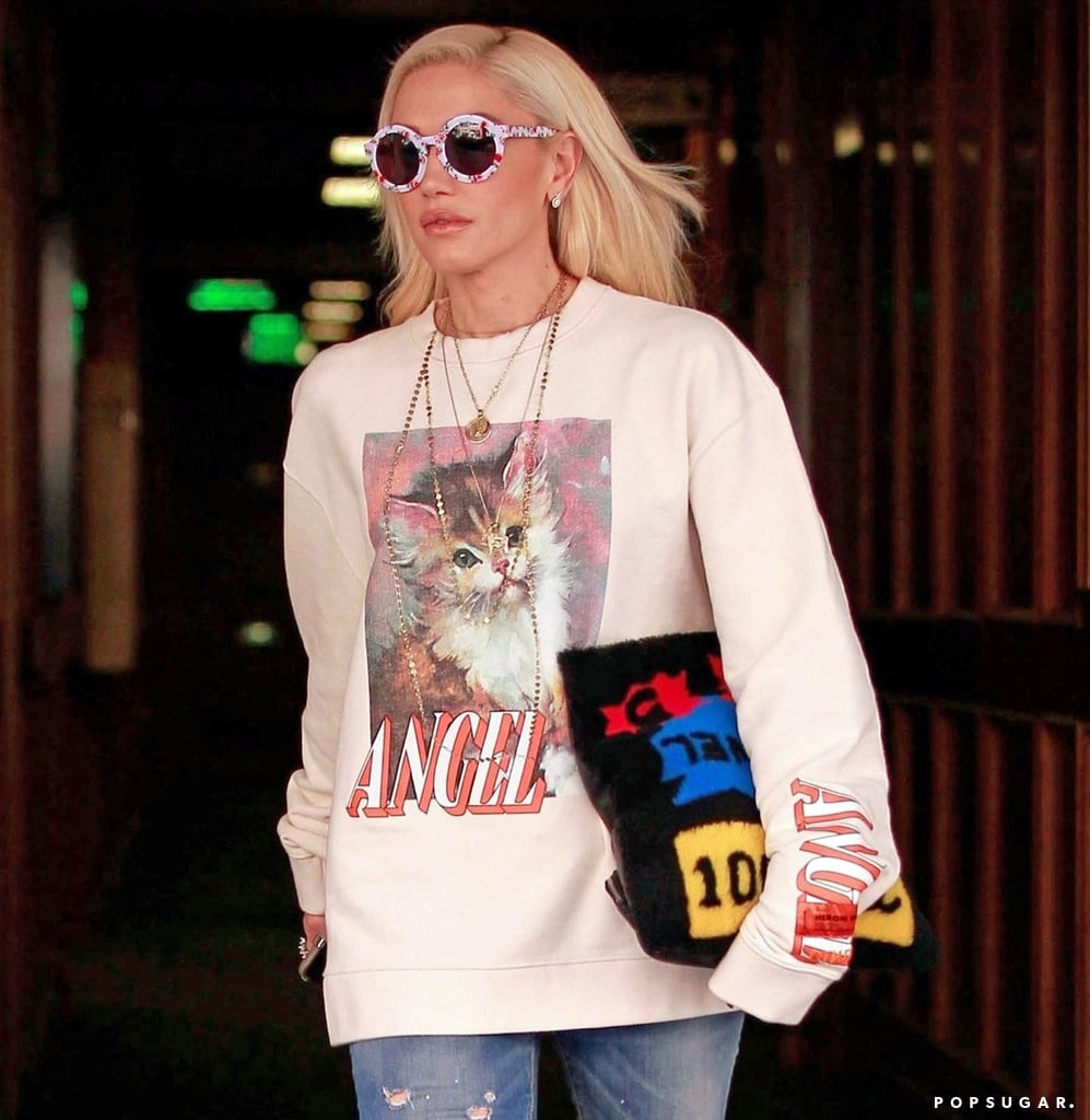 Gwen Stefani wears cute cat sweatshirt