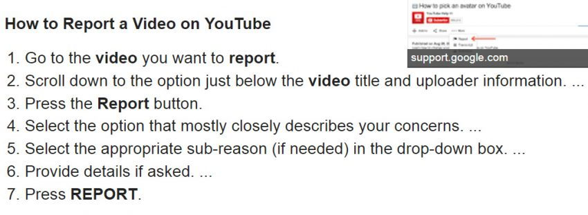 Reporting a video on YouTube