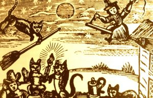 Cat-phobics persecuting the cat in medieval times
