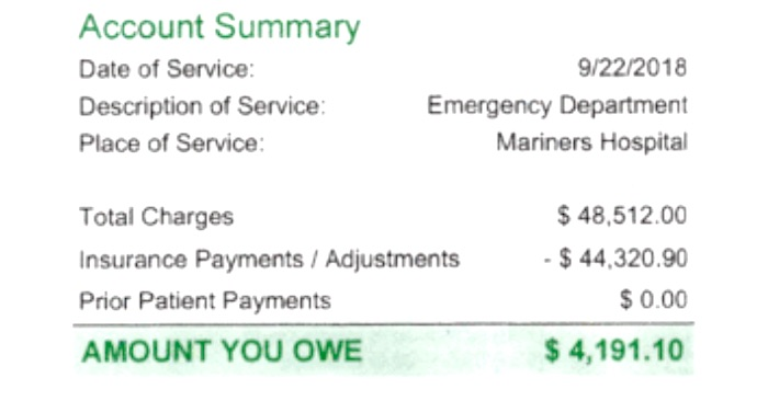 Hospital invoice for rabies shot