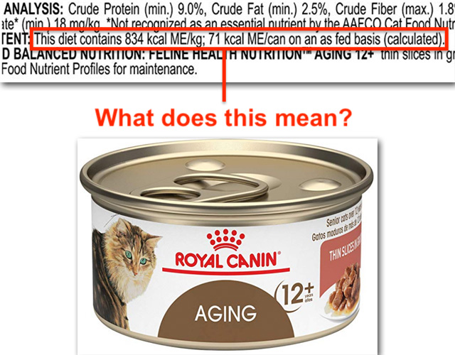 Can of wet cat food and confusing labelling concerning calorie content
