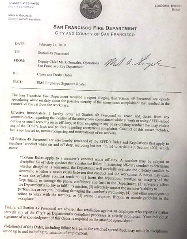 Cease and desist order from San Francisco Fire Dept.